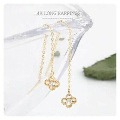 14K Solid Yellow Gold Flower Cubic Long Threader Drop Dangle a Pair Earrings TPD