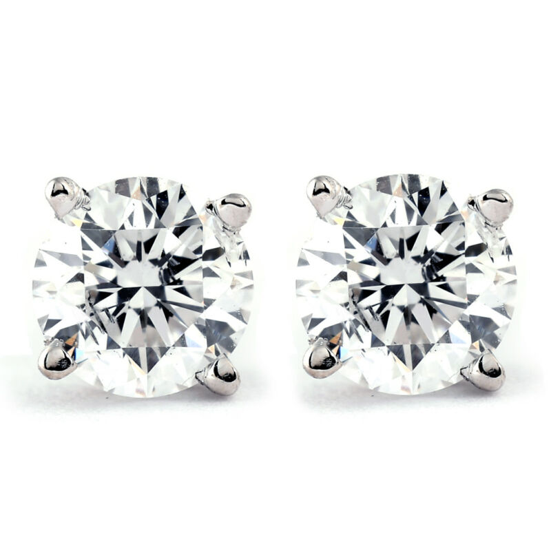 1 CT. T.W. Genuine White Diamond Studs 14K White or Yellow Gold