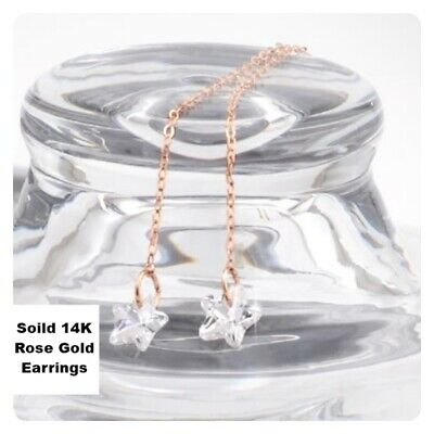 14K Solid Rose Gold Twinkle Basic Long Threader Drop Dangle a Pair Earrings TPD