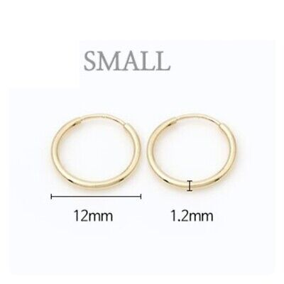 TPD Solid 14K Yellow Gold Endless Circle Ring 12mm Tube Hoop a Pair of Earrings