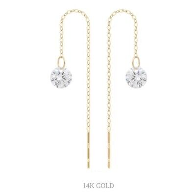 TPD Solid 14K Yellow Gold Cubic Basic Long Threader Drop Dangle a Pair Earrings
