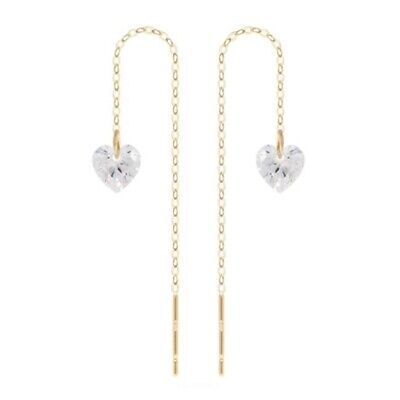 TPD Solid 14K Yellow Gold Lovely Basic Long Threader Drop Dangle a Pair Earrings
