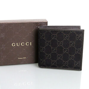 New Authentic GUCCI Mens GG Monogram Wallet w/Coin Pocket, Brown Denim