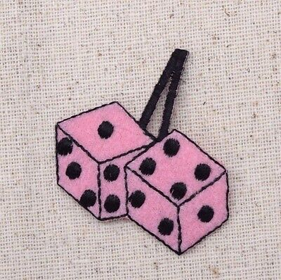 50s Pink Dice - Fuzzy/Fluffy/Pair - Iron on Applique/Embroidered - Pink Fluffy Dice