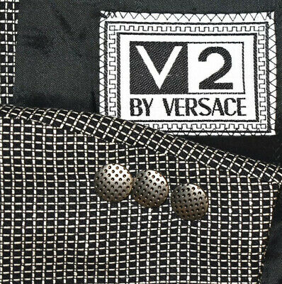 46R Versace V2 Black White Geometric Wool Silk Sport Coat Blazer Jacket