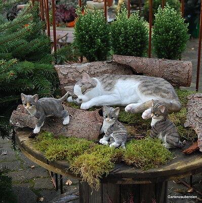 Katze mit 3 Kindern 41 cm Neu Frostfest Gartenfigur Dekofigur täuschend echt