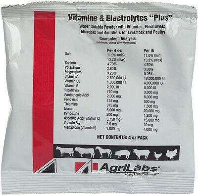 Vitamins Electrolytes Plus Cattle Swine Sheep Horses Poultry Versatile 4oz Pkt
