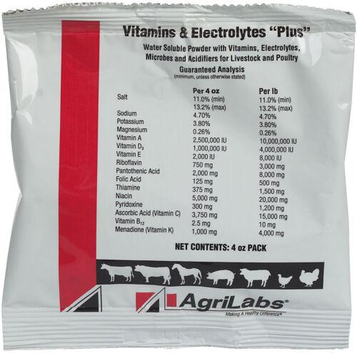 VITAMINS & ELECTROLYTES PLUS Cattle Swine Sheep Horses Poultry Versatile 4oz Pkt