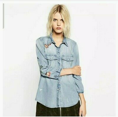 NEW $68!Vintage Wash Zara Chambray Button-Up XS