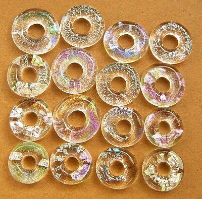 Lot 16pcs rings DICHROIC earrings pendant FUSED GLASS lampwork (BD2) CABS