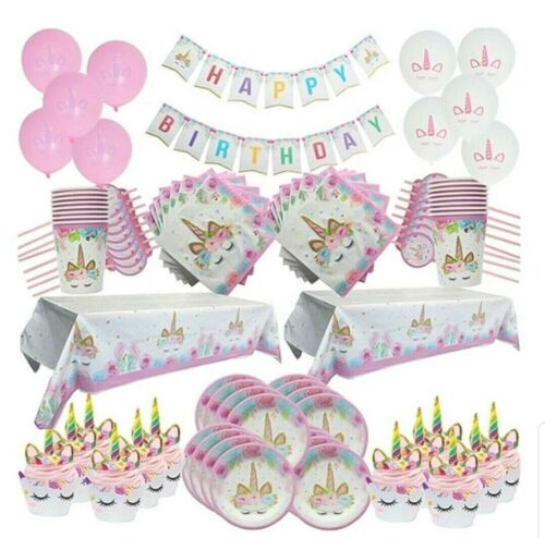 Unicorn Birthday Girls party disposable supplies and decoration