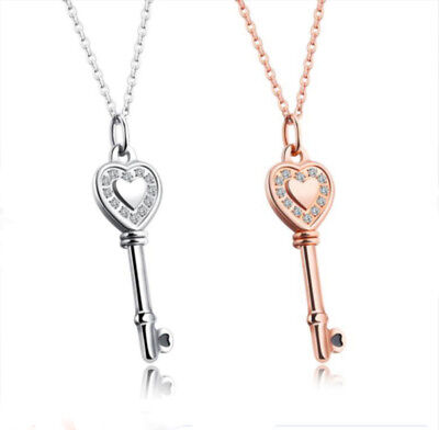 Heart Key Necklace Micro Pave CZ Rose Gold or Silver Steel 16-18 inch Girl Woman