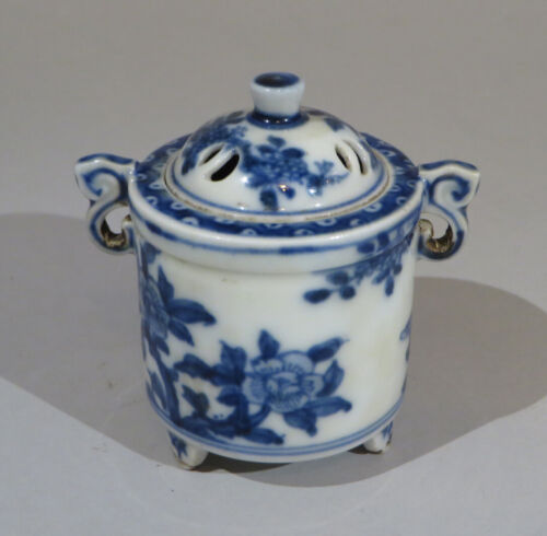 """Rare and fine Chinese export porcelain blue and white censer 2.75"""" tall sku:SBWP"""