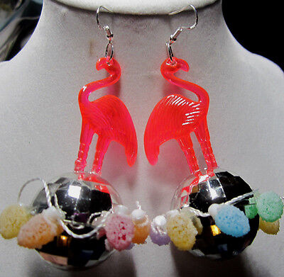BIG UGLY PINK FLAMINGO & 70s 925 EARRINGS SILVER DISCO BALL CANDY PARTY Lights](70s Candy)