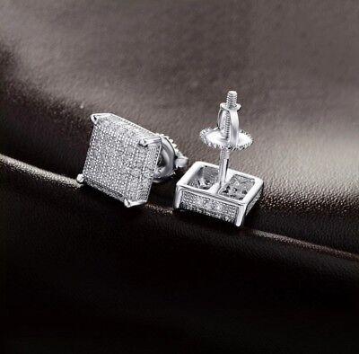 Men 14k White Gold Sterling Silver Lab Diamond Square Screw Back Stud Earrings
