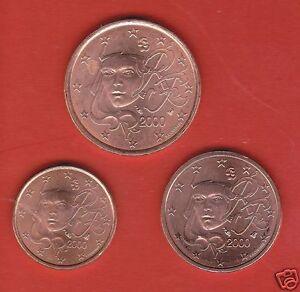 2000 FRANKREICH FRANCE Kursmünzen 1 Cent & 2 Cent & 5 Cent UNC prägefrisch - Perchtoldsdorf, Österreich - 2000 FRANKREICH FRANCE Kursmünzen 1 Cent & 2 Cent & 5 Cent UNC prägefrisch - Perchtoldsdorf, Österreich