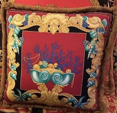 "VERSACE CUSHION  RETIRED ITALY 18"" ESTATE VINTAGE la mer red 1 left"
