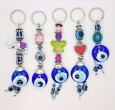 Set Five Blue Evil Eye Glass Keychain Ring Turkish Nazar Good Luck Charm Amulet