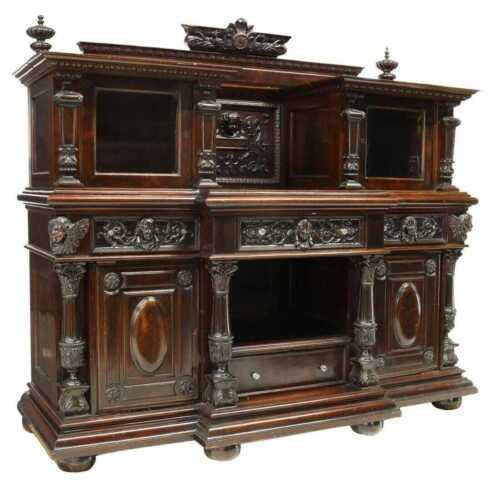 Antique Sideboard / Server Display,  Continental Figural Carved Walnut!!