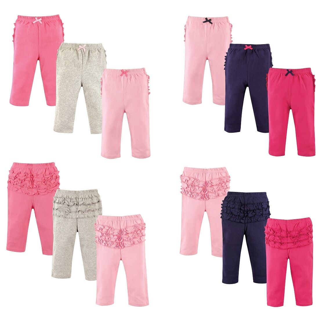 HUDSON BABY GIRLS 3-PACK RUFFLE BOTTOM COTTON PANTS  0 TO 24