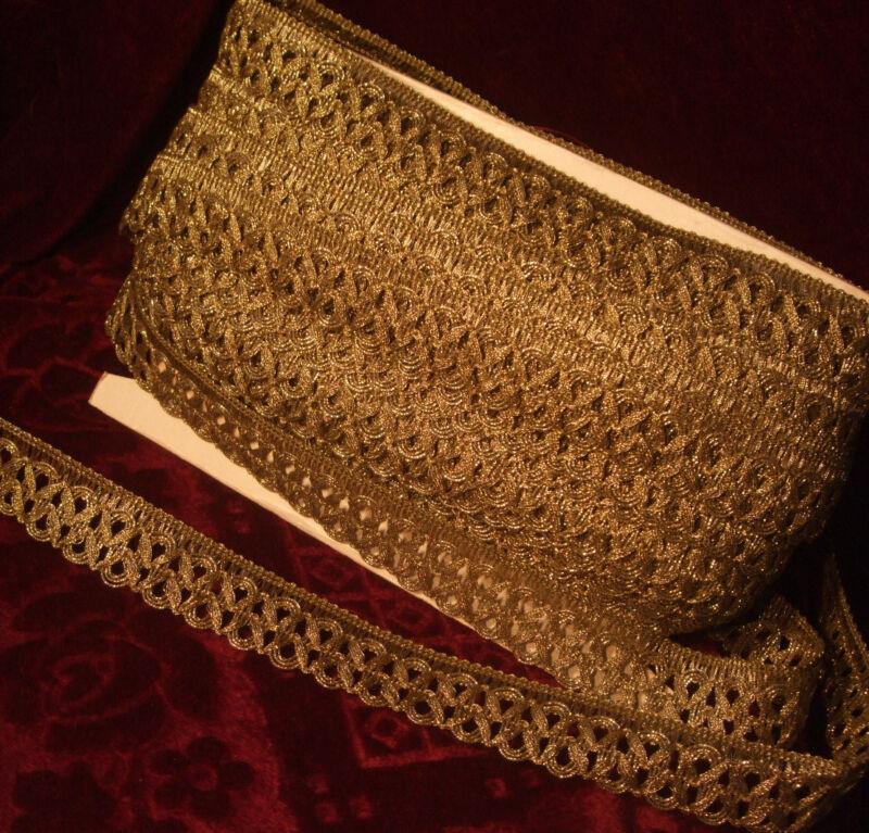 "Antique vintage gold metallic ribbon lace braid trim loops lamp shade 1-1/5"" p.y"