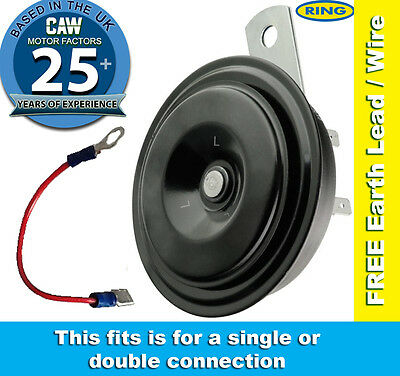 Universal Horn 12v Compact Disc Type Low Note Car or Motorcycle Free wire Ring