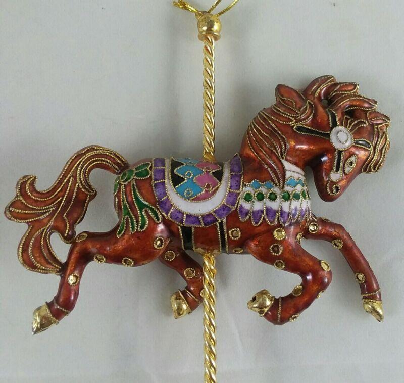 metal carousel horse hanging ornament