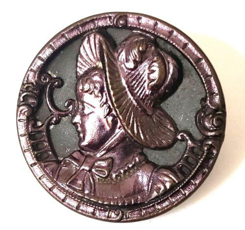 "Antique Metal Picture Button w PurpleTint…Victorian Woman w Huge Hat…1&1/16"""