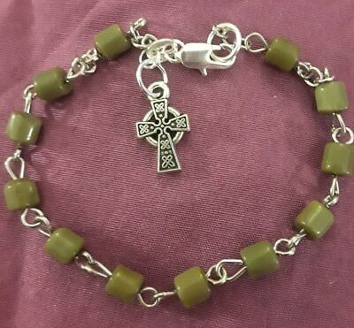 Celtic Cross Connemara Marble Bead Rosary Bracelet Sterling Silver Filled 0loose