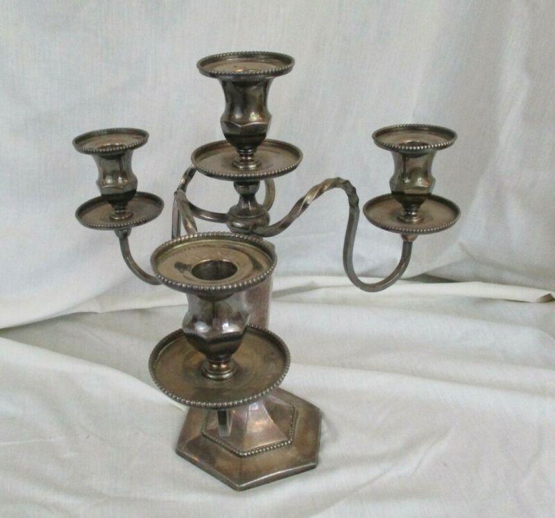 vintage Wilcox 4 candle candelabra quadruple silver plate merrider conn 2796