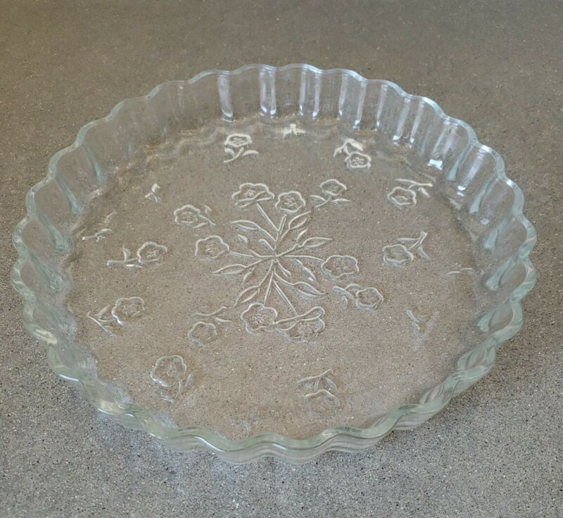 """Anchor Hocking Savannah 10"""" Quiche Pan Dish Glass Tart Pie Plate Embossed Floral"""