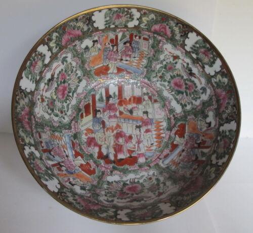 "Large Vintage Chinese Export Rose Medallion Punch Bowl Figural Scenes 14.25"""