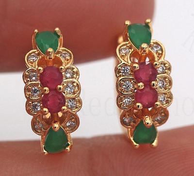 18K Gold Filled Earrings Ruby Zircon Emerald Flower Topaz Ear Hoop Wedding (Emerald Wedding Earrings)