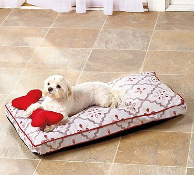 New Medium Red & Grey Printed Pet Dog Bed and Pillow Set Lounger 29.5 x 17 x 3""