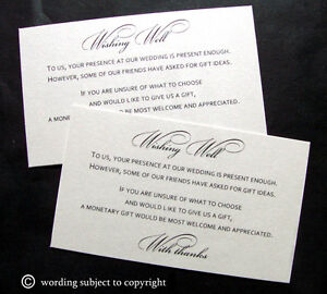 10 Wishing Well Ivory Cards FOR Wedding Invitations