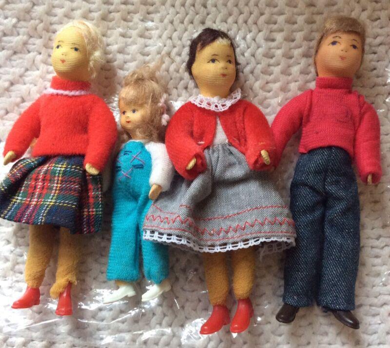 "Vintage Dollhouse Family - Erna Meyer Stockinette? Over 4"" Daughter Grandmother"