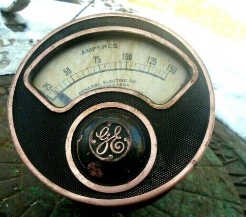 """Vintage GE  industrial Volt Meter Steampunk gauge General Electric 7"""""""