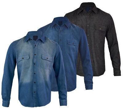 Denim Long Sleeve Work Shirt (Mens Classic Denim Shirt Long Sleeve Work Heavy Premium Denim S-3XL)
