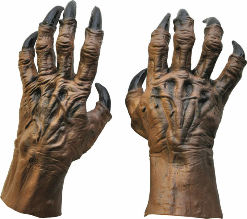 Morris Costumes Adult Unisex Werewolf Latex Sculpted Large Brown Hands . DU978