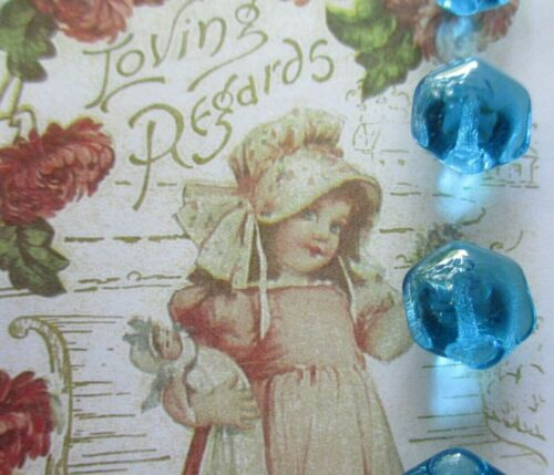 """Set of 4 ~ Vintage 1/2"""" Clear Teal  Hex Glass Buttons ~ new/old stock ~1920"""