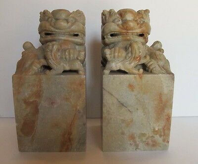 Large Vintage Pair Asian Chinese Carved Soapstone  Foo Dogs Chops Seals 6.25""