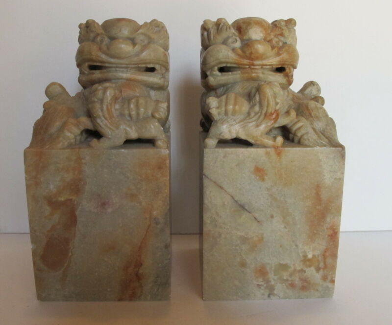 """Vintage Pair Asian Chinese Carved Soapstone Foo Dogs Chops Seals Book Ends 6+"""""""