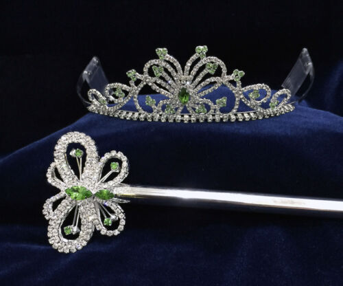 Set- Crystal Rhinestones w/Butterfly Tiara & Scepter. Pick Your Color !