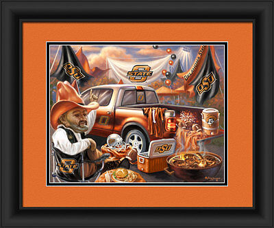 Oklahoma State Cowboys Framed Tailgate Print - Poster Wood Wall Sign Man Cave
