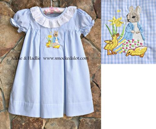 Smocked A Lot Girls Easter Dress Peter Rabbit Lace Outfit Bunny Cross Church