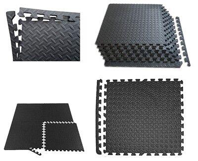 Interlocking Eva Soft Foam Exercise Floor Mats Gym Garage House Office Black