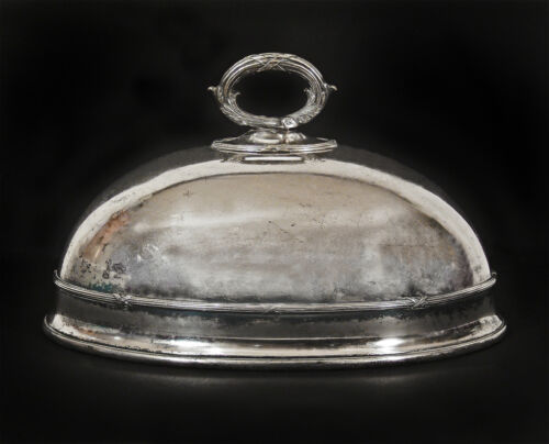 Antique James Dixon & Sons Sheffield English Silver Plated Oval Dish Dome Cover
