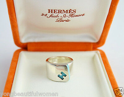 """BEAUTIFUL HERMES PARIS 49  """"H"""" ENAMEL Sterling Silver 925 TURQUOISE Candy Ring"""