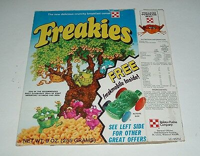 1975 Freakies Cereal Box w/ Freakiemobiles offer - Ralston