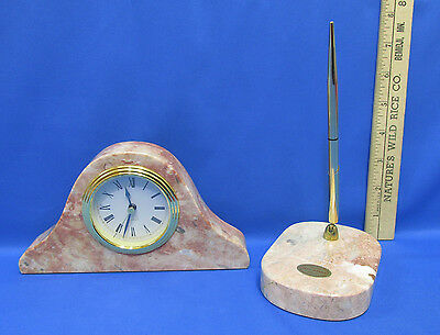 Vintage Real Marble Desk Set Pen and Clock Pink Rose Red Office Writing Stone